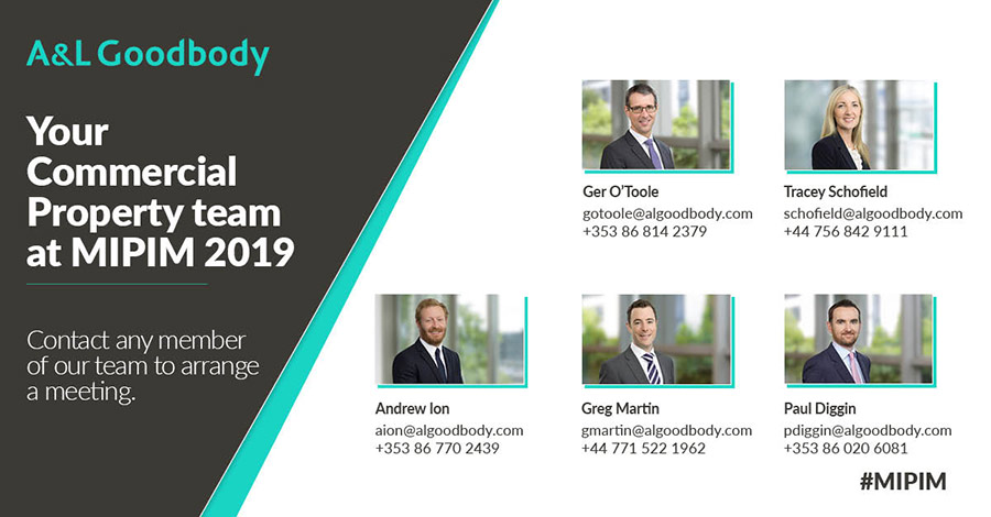 A&L Goodbody Commercial Property team at MIPIM 2019