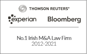 No.1 Irish M&A Firm 2012-2021 T.Reuters, Experian & Bloomberg