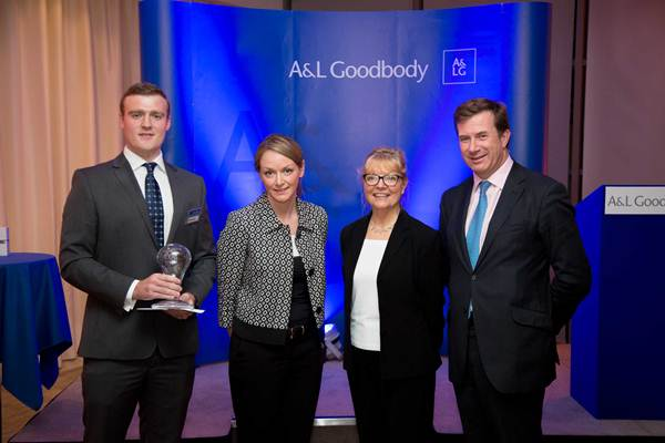 Pictured L-R: Andrew Barr, NUI Galway, Berni Hosty, Partner A&L Goodbody, Tina Roche, CEO Business in the Community, Julian Yarr, Managing Partner A&L Goodbody