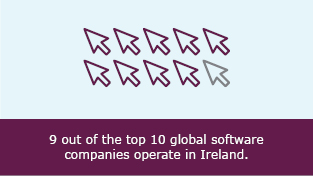 9 out of the top 10 global software companies operate in Ireland