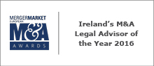 Irelands M&A Legal Advisor of the Year 2016